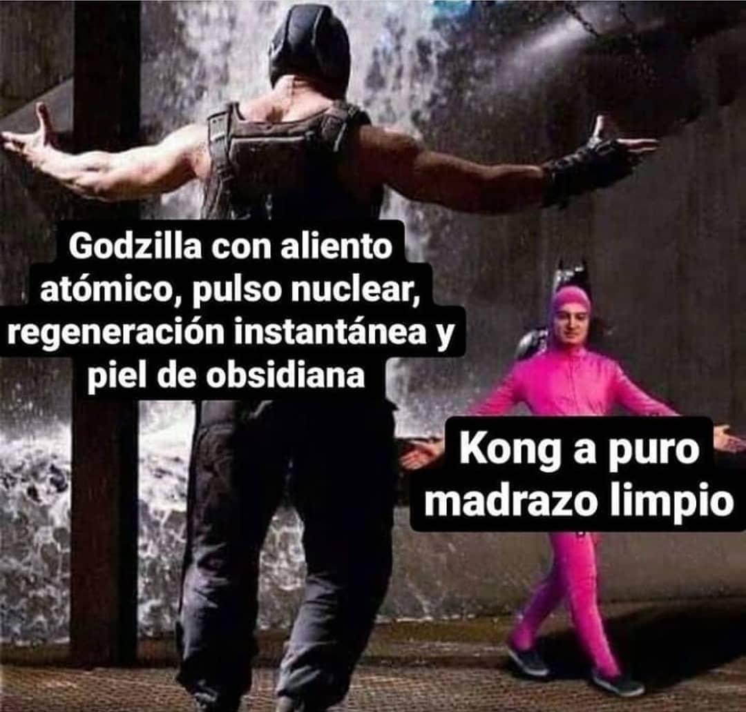 Godzilla con aliento atómico, pulso nuclear, regeneración instantánea y piel de obsidiana.  Kong a puro madrazo limpio.
