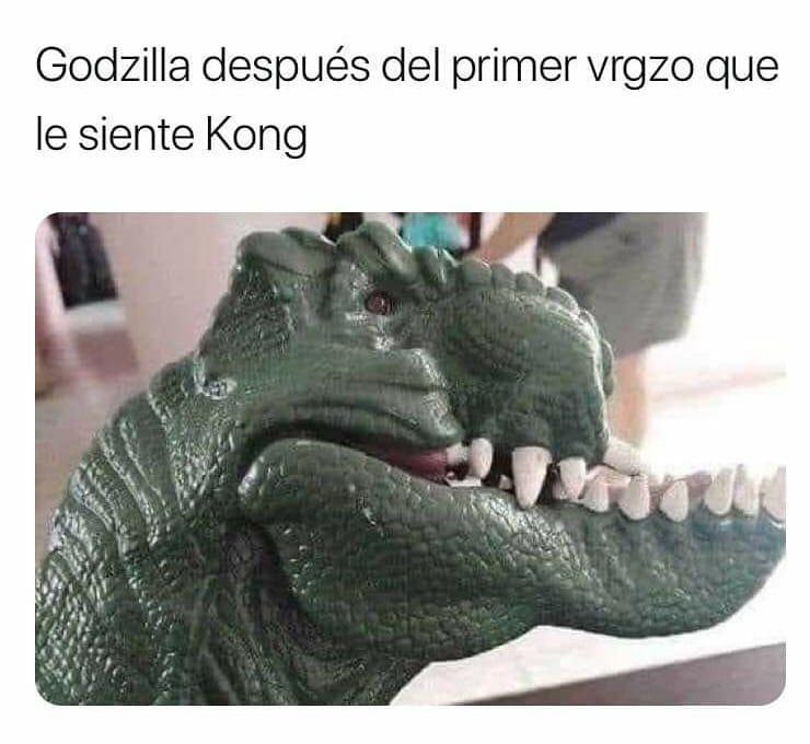 Godzilla después del primer vrgzo que le siente Kong.