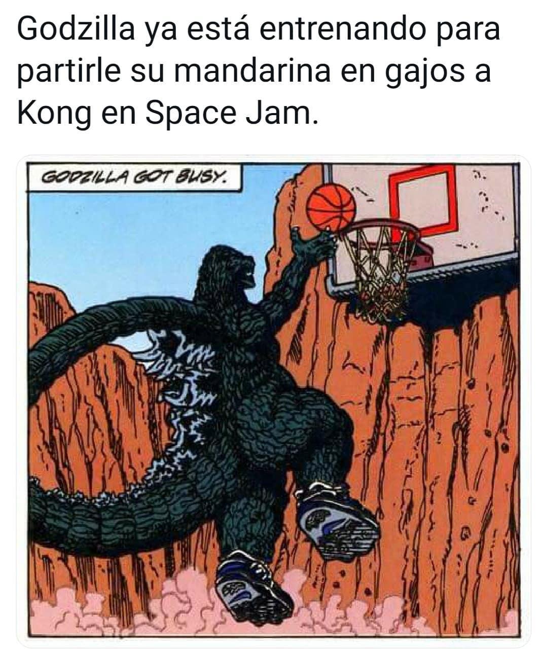 Godzilla ya está entrenando para partirle su mandarina en gajos a Kong en Space Jam. Goozilla got busy.