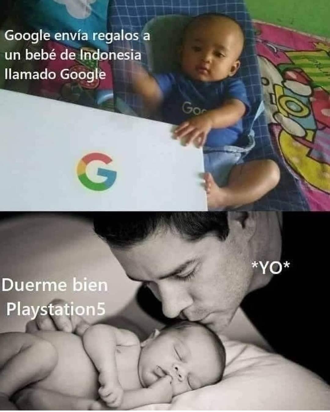 Google envía regalos a un bebé de Indonesia llamado Google.  *Yo* Duerme bien Playstation 5.