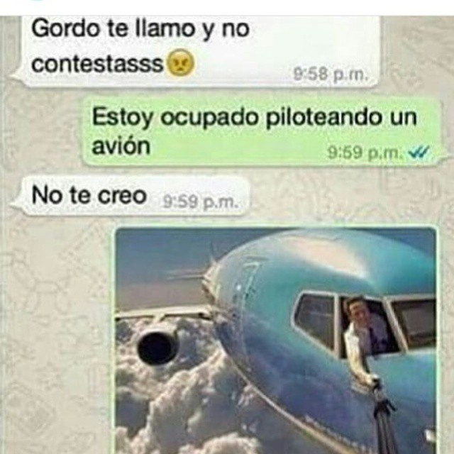 - Gordo te llamo y no contestasss.  - Estoy ocupado piloteando un avión.  - No te creo.