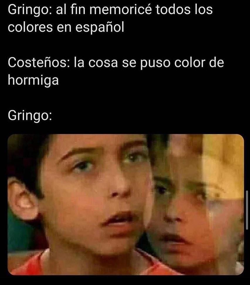 Gringo: al fin memoricé todos los colores en español.  Costeños: la cosa se puso color de hormiga.  Gringo: