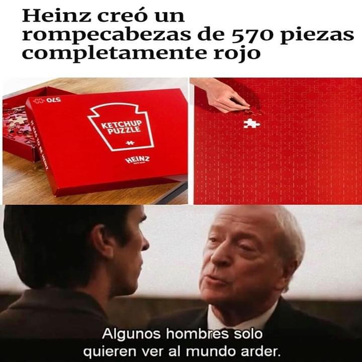Heinz creó un rompecabezas de 570 piezas completamente rojo.  Algunos hombres solo quieren ver al mundo arder.