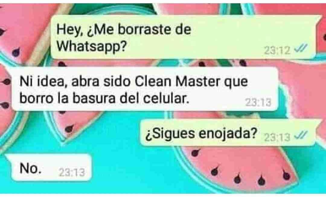 Hey, ¿Me borraste de Whatsapp?  Ni idea, abra sido Clean Master que borró la basura del celular.  ¿Sigues enojada?  No.
