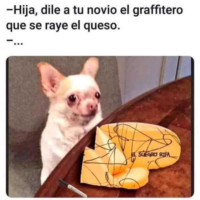 Hija, dile a tu novio el graffitero que se raye el queso.