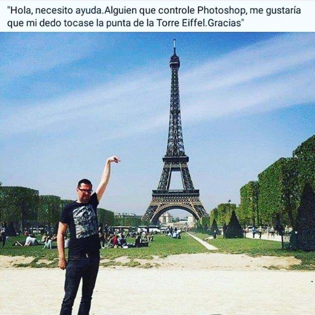 Hola, necesito ayuda. Alguien que controle Photoshop, me gustaría que mi dedo tocase la punta de la Torre Eiffel. Gracias.