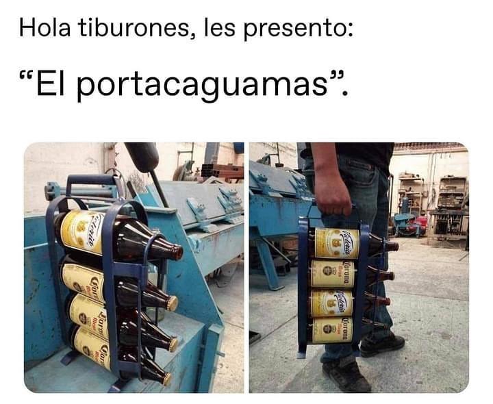 """Hola tiburones, les presento: """"el portacaguamas""""."""