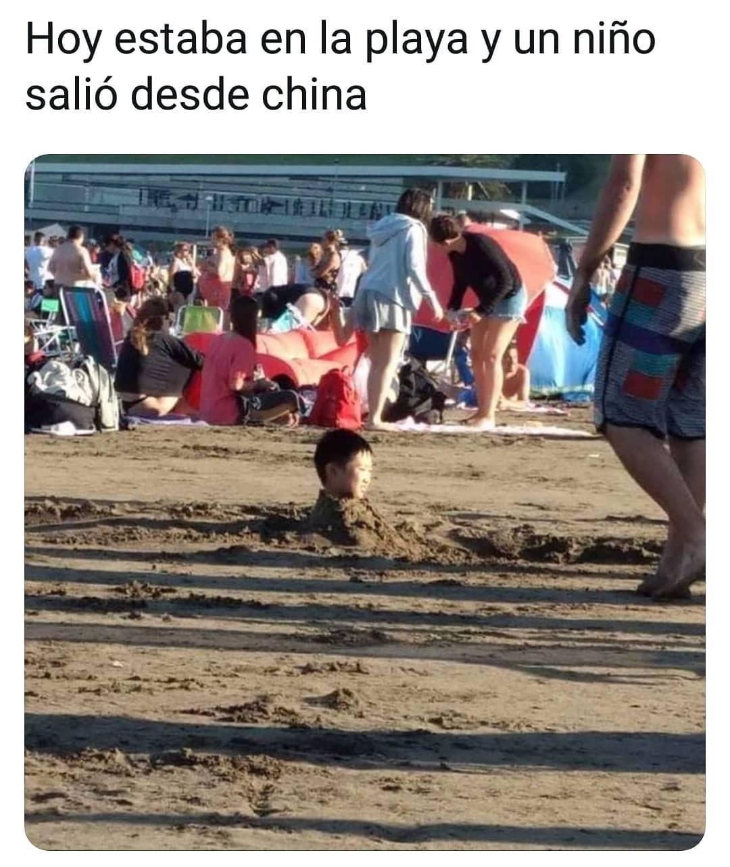 Hoy estaba en la playa y un niño salió desde china.