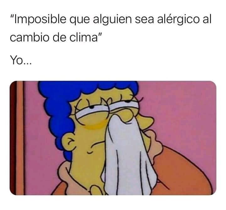 Imposible que alguien sea alérgico al cambio de clima.  Yo...