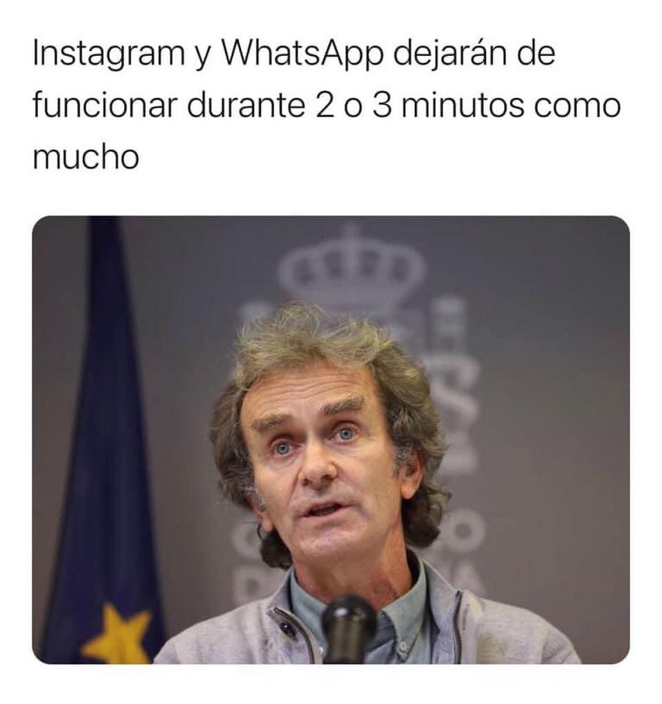 Instagram y WhatsApp dejarán de funcionar durante 2 o 3 minutos como mucho.