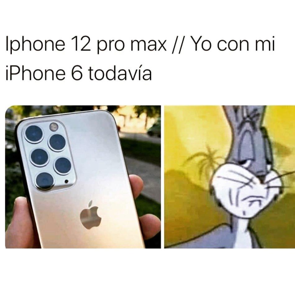 Iphone 12 pro max. // Yo con mi Iphone 6 todavía.