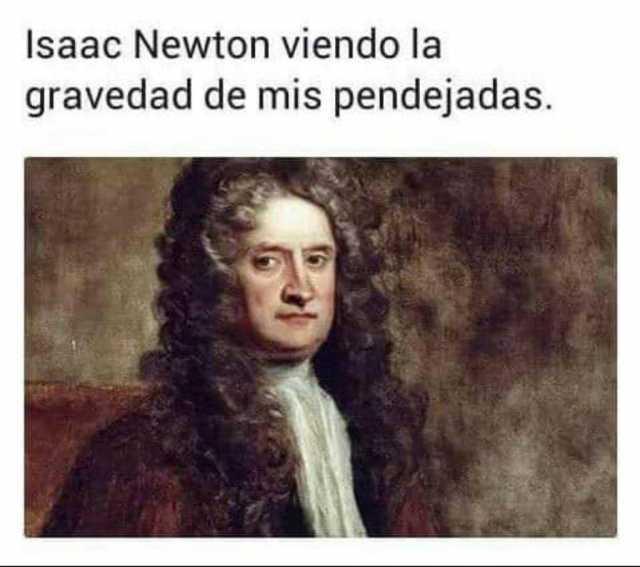 Isaac Newton viendo la gravedad de mis pendejadas.