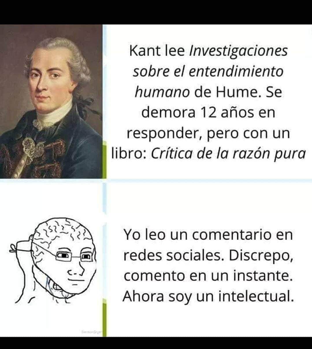 Kant lee Investigaciones sobre el entendimiento humano de Hume. Se demora 12 años en responder, pero con un libro: Crítica de la razón pura.  Yo leo un comentario en redes sociales. Discrepo, comento en un instante. Ahora soy un intelectual.