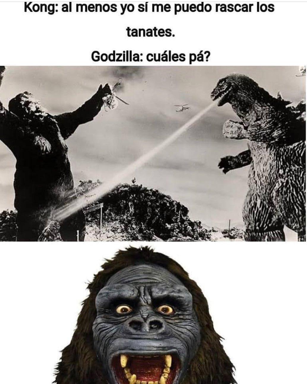 Kong: Al menos yo sí me puedo rascar los tanates.  Godzilla: Cuáles pá?