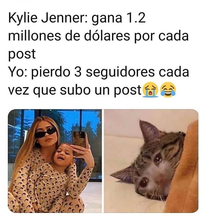 Kylie Jenner: gana 1.2 millones de dólares por cada post.  Yo: pierdo 3 seguidores cada vez que subo un post.