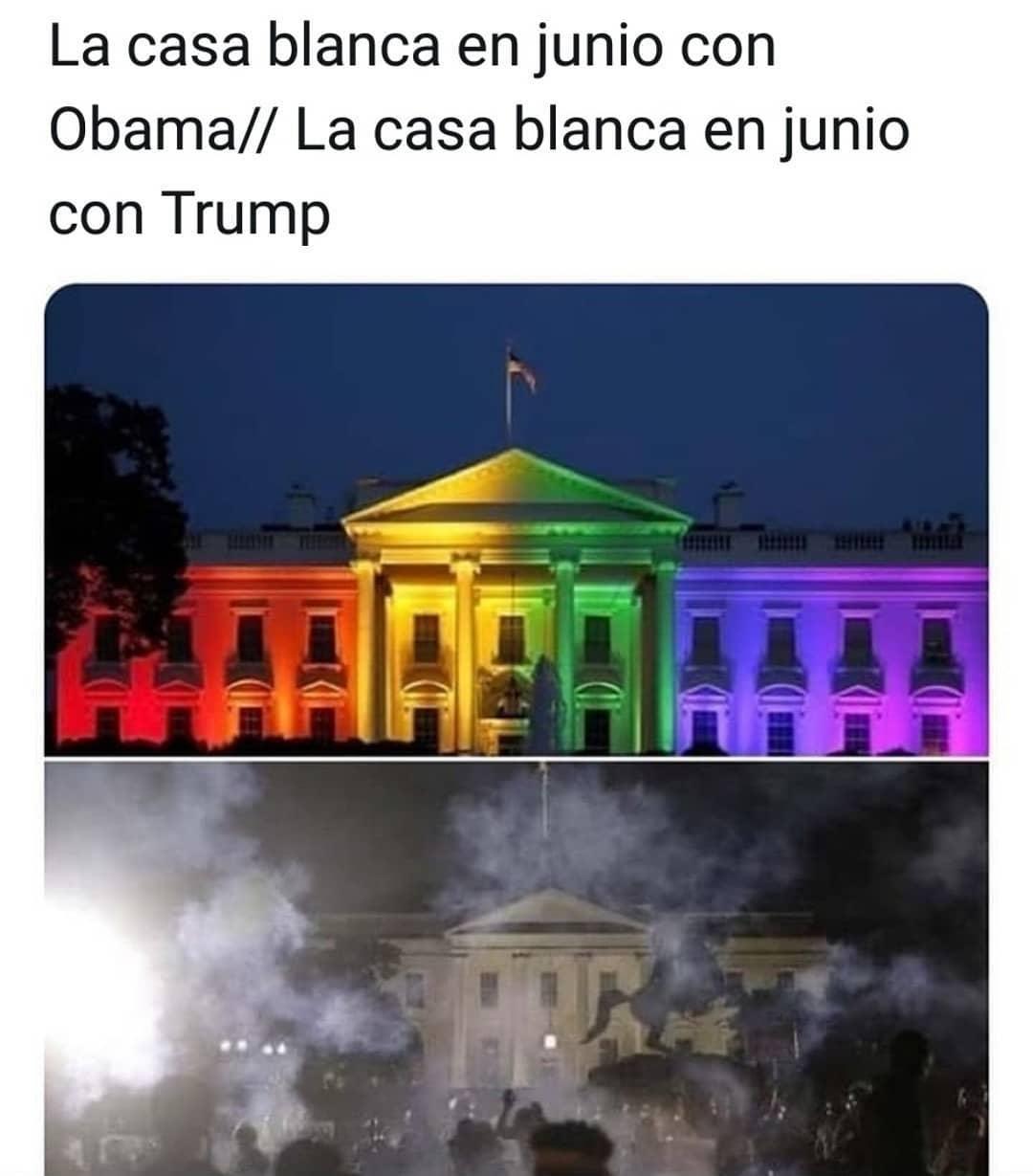 La casa blanca en junio con Obama.// La casa blanca en junio con Trump.