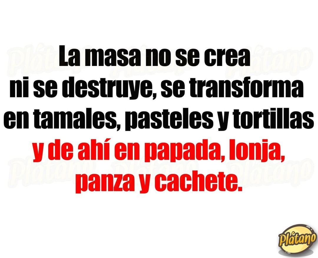 La masa no se crea ni se destruye, se transforma en tamales, pasteles Y tortillas. Y de ahí en panada, lonja, panza y cachete.