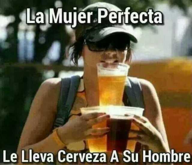 La mujer perfecta le lleva cerveza a su hombre.
