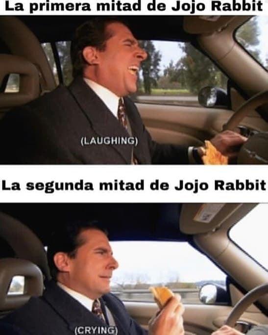 La primera mitad de Jojo Rabbit.  La segunda mitad de Jojo Rabbit.