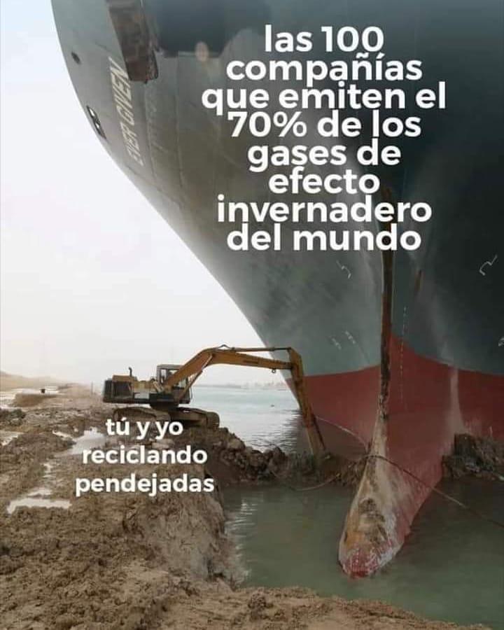 Las 100 compañías que emiten el 70% de los gases de efecto invernadero del mundo.  Tú y yo reciclando pendejadas.