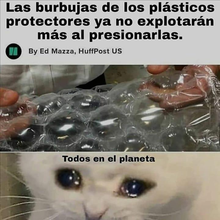 Las burbujas de los plásticos protectores ya no explotarán más al presionarlas.  Todos en el planeta.