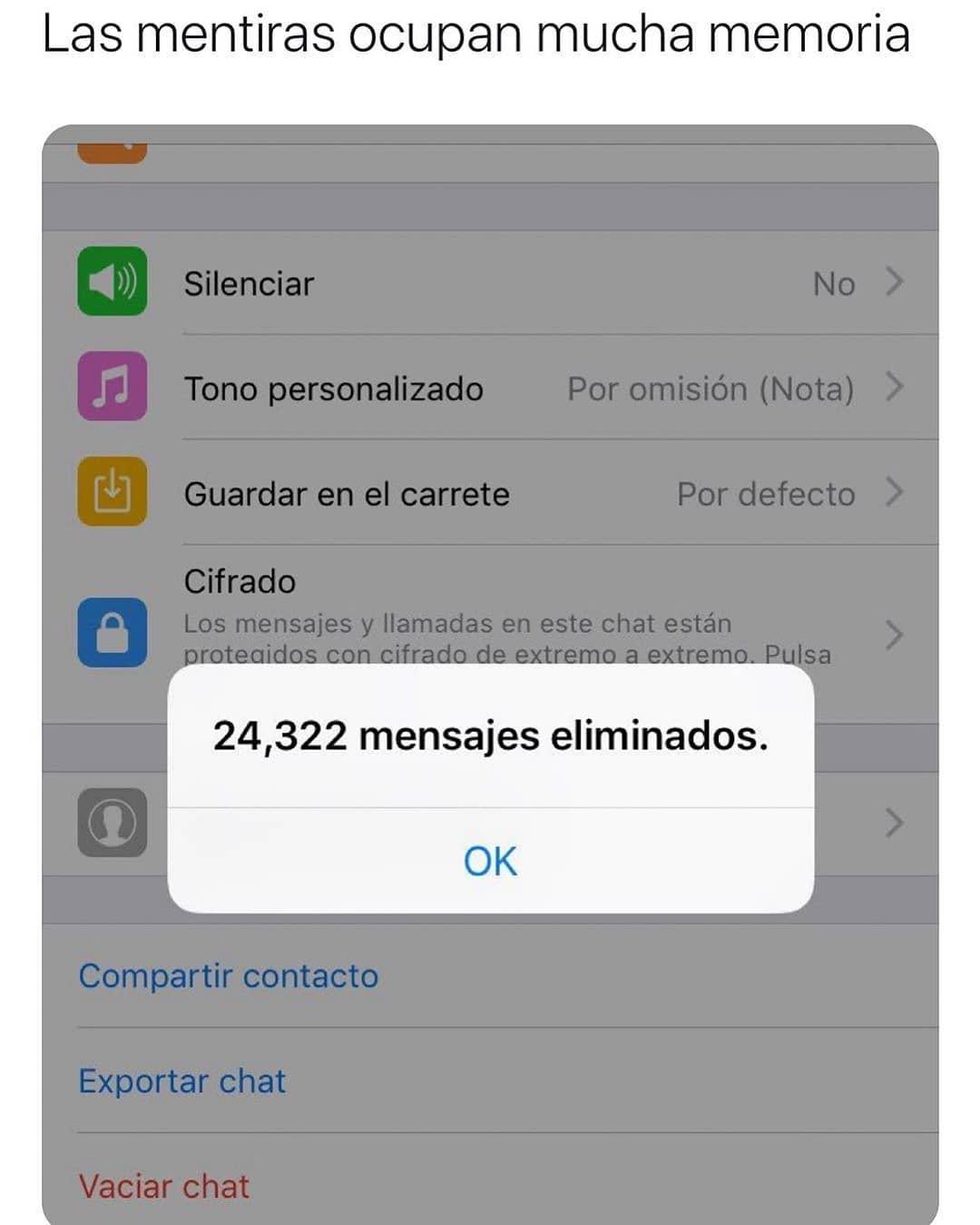 Las mentiras ocupan mucha memoria.  24,322 mensajes eliminados.