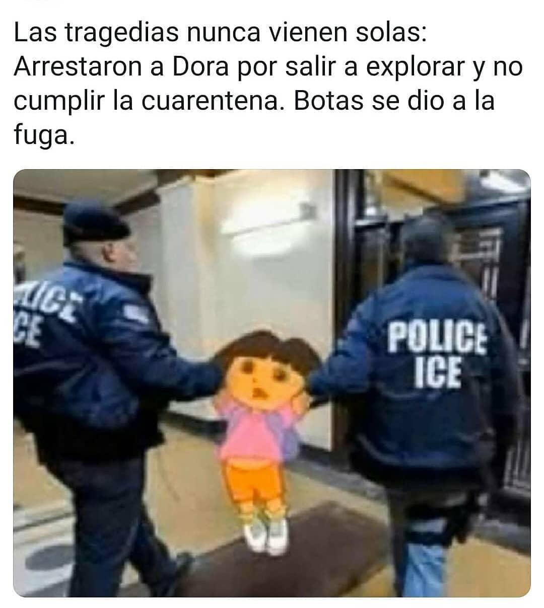 Las tragedias nunca vienen solas: Arrestaron a Dora por salir a explorar y no cumplir la cuarentena.  Botas se dio a la fuga.
