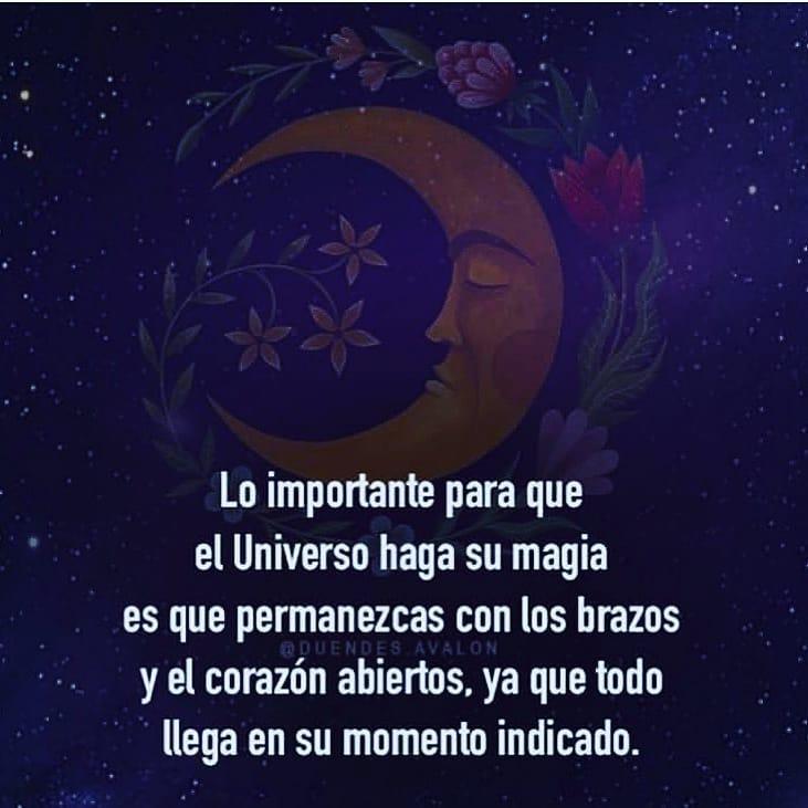 Lo importante para que el Universo haga su magia es que permanezcas con los brazos y el corazón abiertos, ya que todo llega en su momento indicado.
