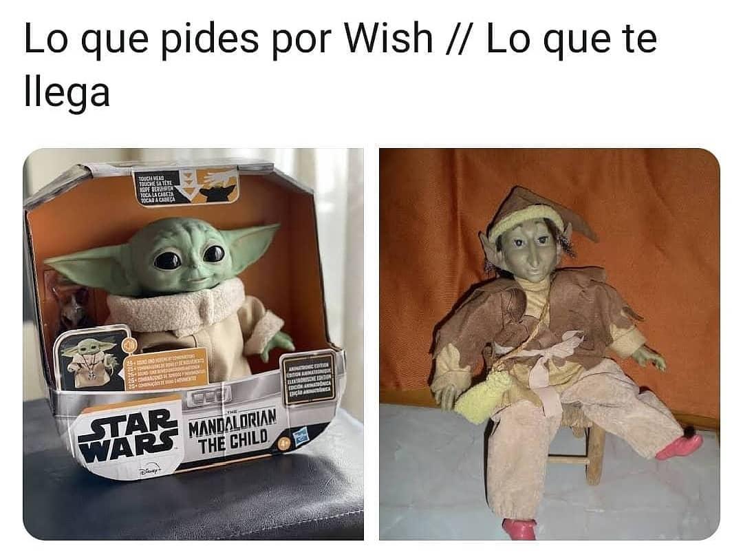 Lo que pides por Wish. // Lo que te llega.