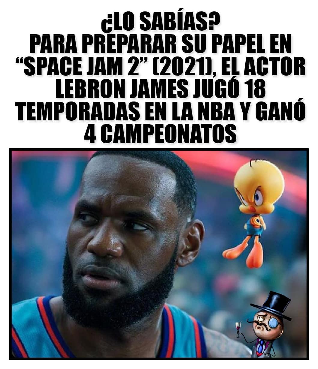 """¿Lo sabías? Para preparar su papel en """"Space Jam2"""" (2021) El actor Lebron Jamen jugó 18 temporadas en la NBA y ganó 4 campeonatos"""