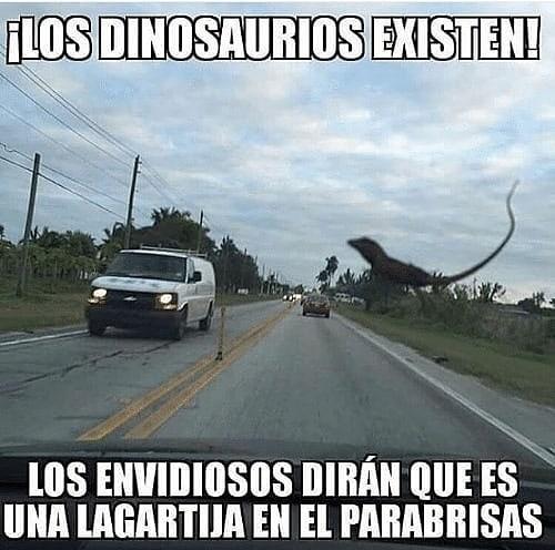 ¡Los dinosaurios existen! Los envidiosos dirán que s una lagartija en el parabrisas.
