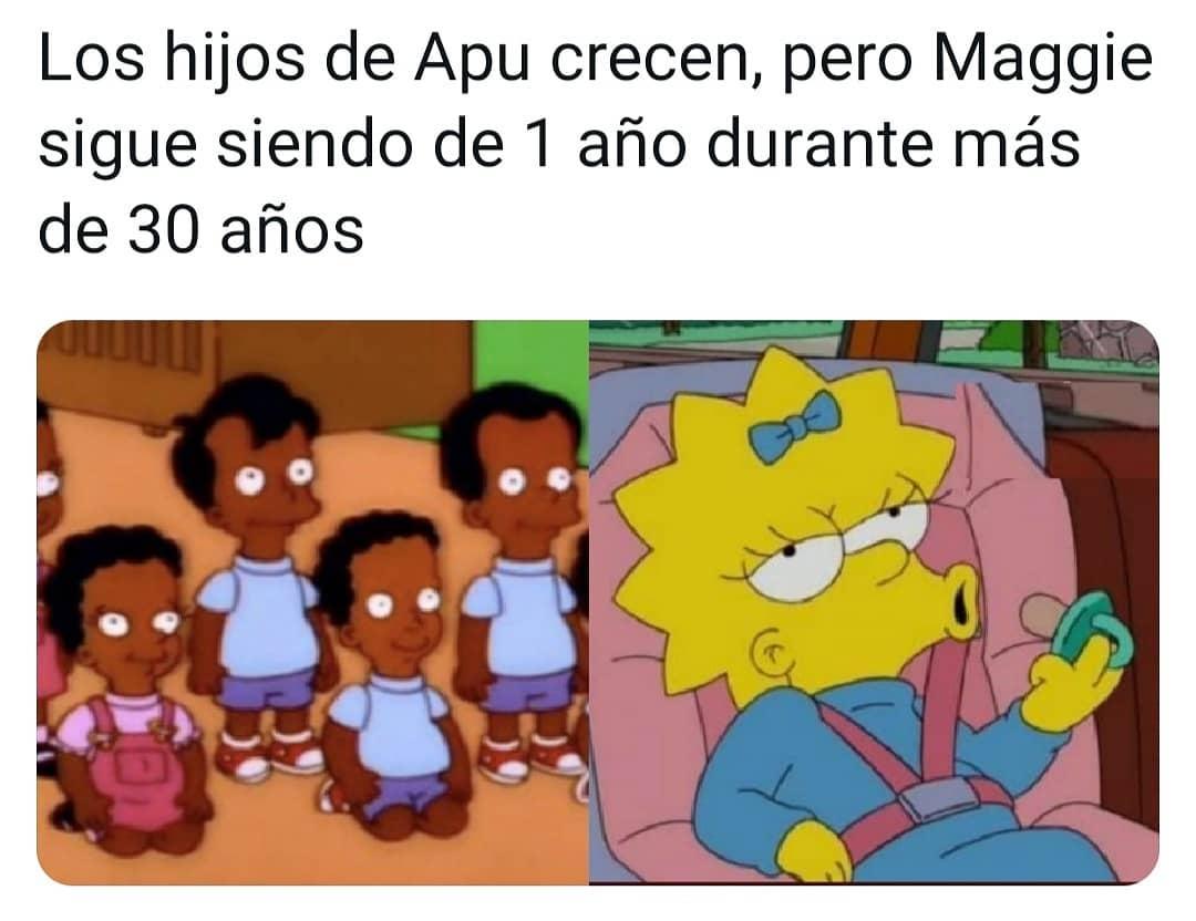 Los hijos de Apu crecen, pero Maggie sigue siendo de 1 año durante más de 30 años.