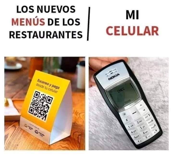 Los nuevos menús de los restaurantes. / Mi celular.