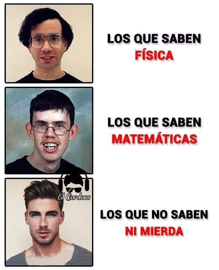 Los que saben Física.  Los que saben Matemáticas  Los que no saben ni mierda