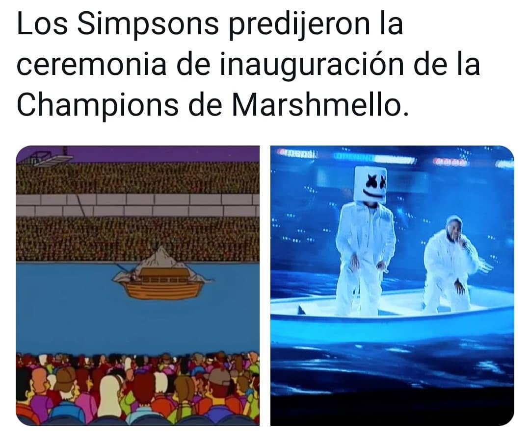 Los Simpsons predijeron la ceremonia de inauguración de la Champions de Marshmello.