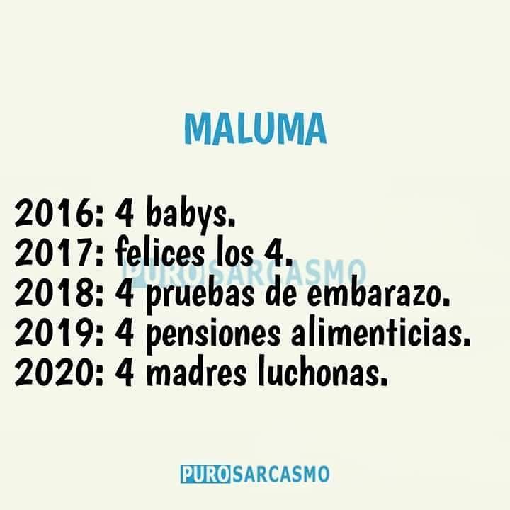 Maluma. 2016: 4 babys. 2017: felices los 4. 2018: 4 pruebas de embarazo. 2019: 4 pensiones alimenticias. 2020: 4 madres luchonas.