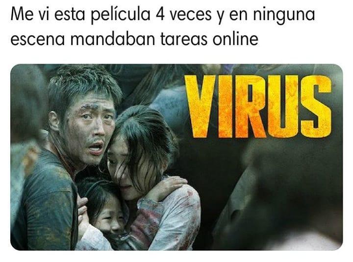 Me vi esta película 4 veces y en ninguna escena mandaban tareas online.  Virus.