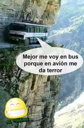 Mejor me voy en bus porque en avión me da terror.