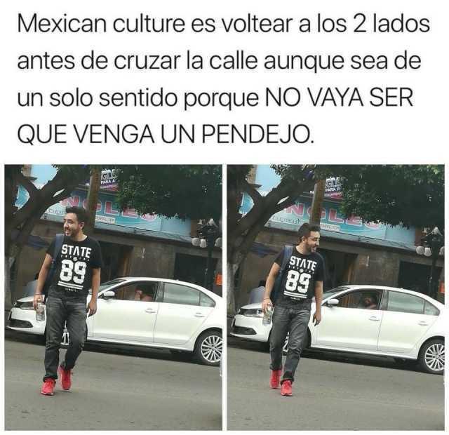 Mexican culture es voltear a los 2 lados antes de cruzar la calle aunque sea de un solo sentido porque no vayas ser que venga un pendejo.
