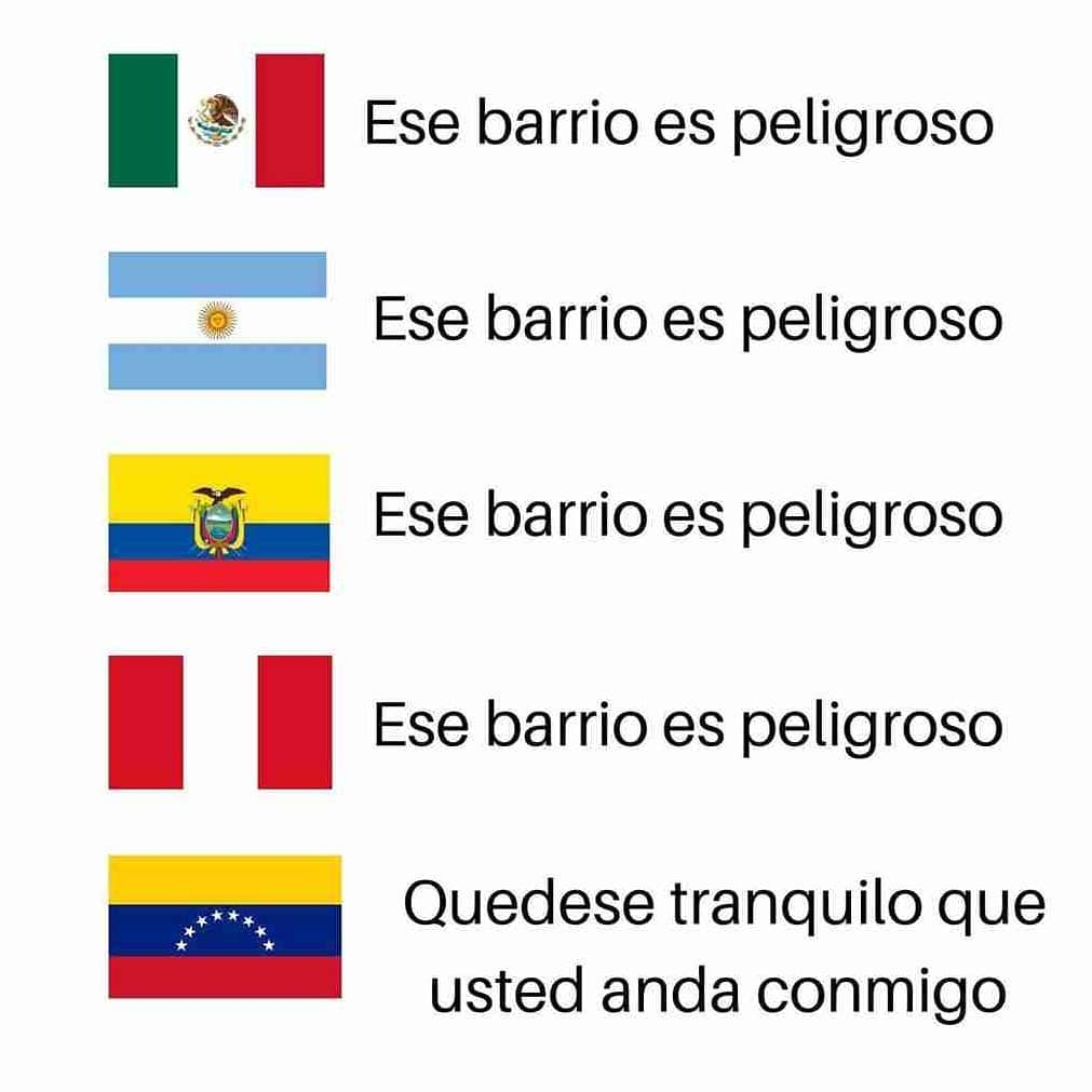 México: Ese barrio es peligroso.  Argentina: Ese barrio es peligroso.  Colombia: Ese barrio es peligroso.  Perú: Ese barrio es peligroso.  Venezuela: Quédese tranquilo que usted anda conmigo.