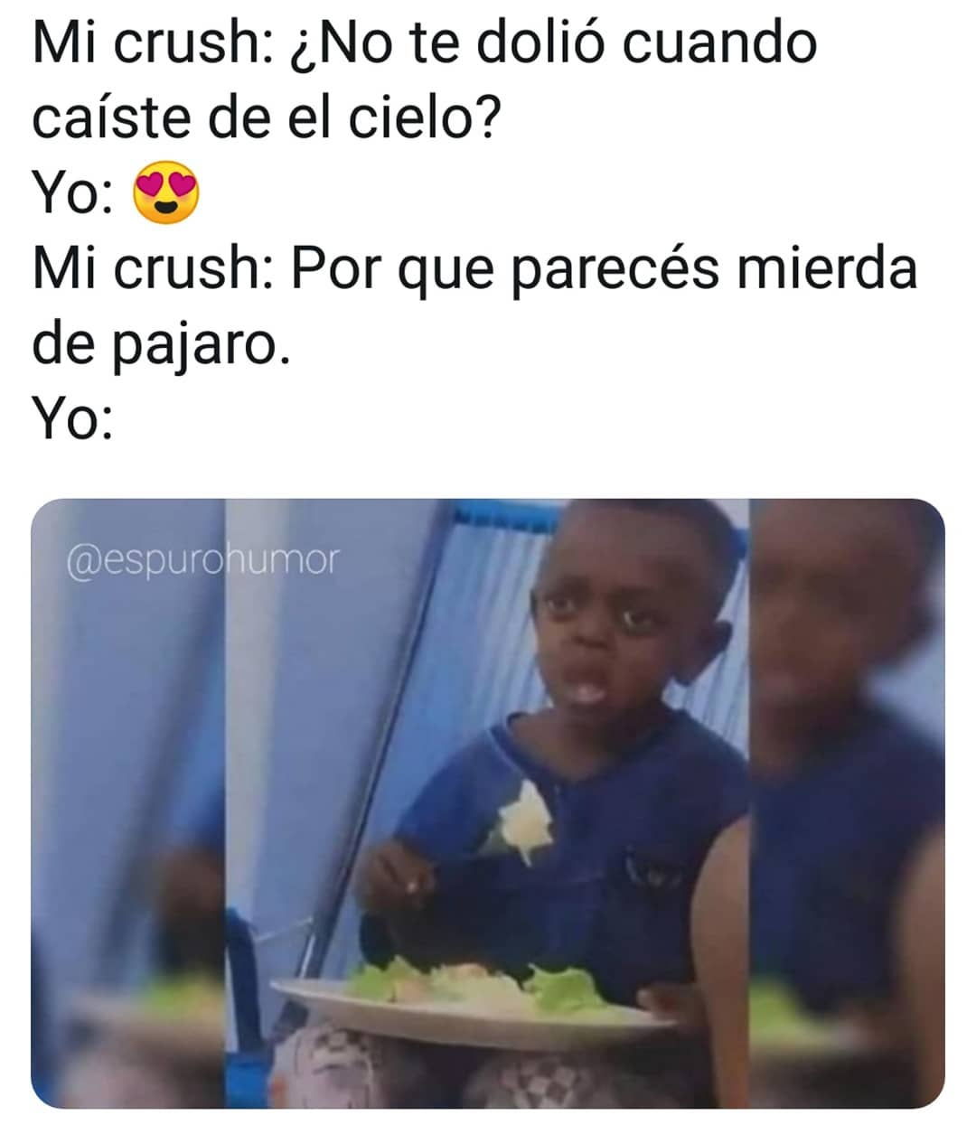 Mi crush: ¿No te dolió cuando caíste de el cielo?  Yo:  Mi crush: Por que parecés mierda de pajaro.