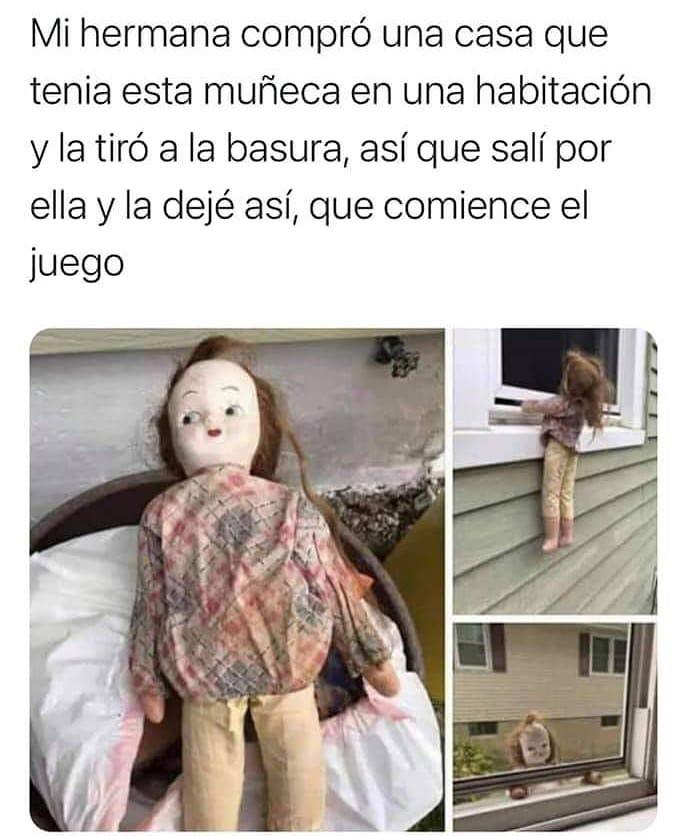 Mi hermana compró una casa que tenía esta muñeca en una habitación y la tiró a la basura, así que salí por ella y la dejé así, que comience el juego.