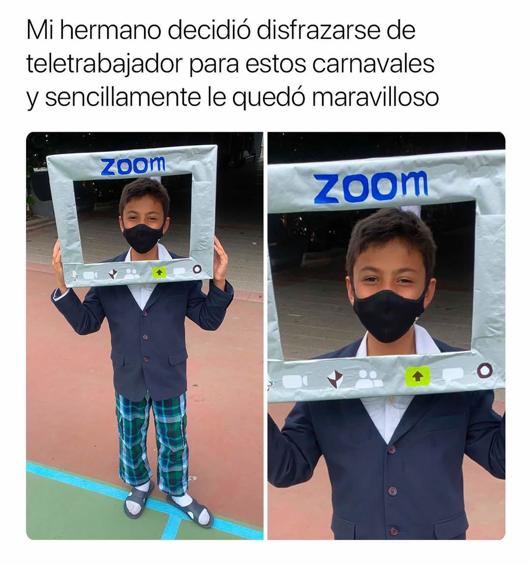 Mi hermano decidió disfrazarse de teletrabajador para estos carnavales y sencillamente le quedó maravilloso: Zoom.