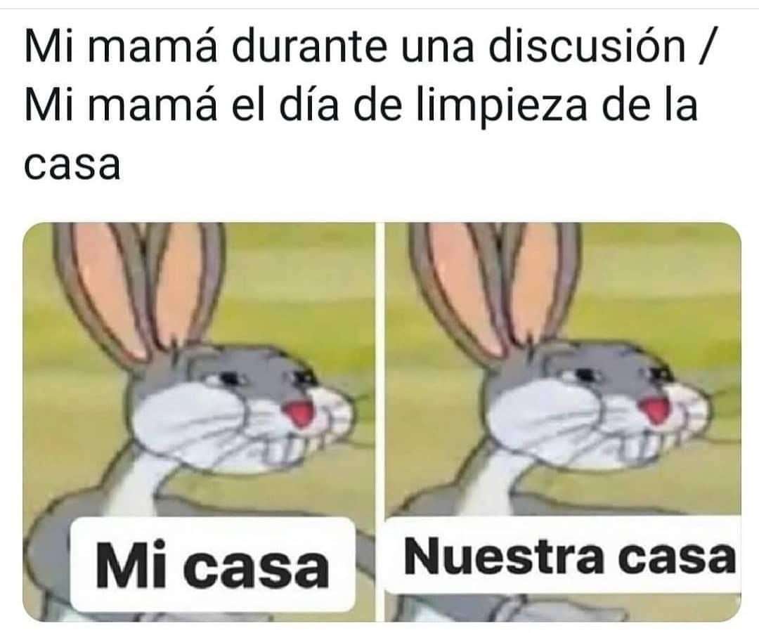 Mi mamá durante una discusión: Mi casa. / Mi mamá el día de limpieza de la casa: Nuestra casa.
