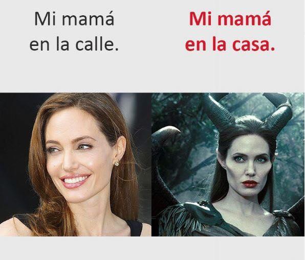 Mi mamá en la calle. Mi mamá en la casa.