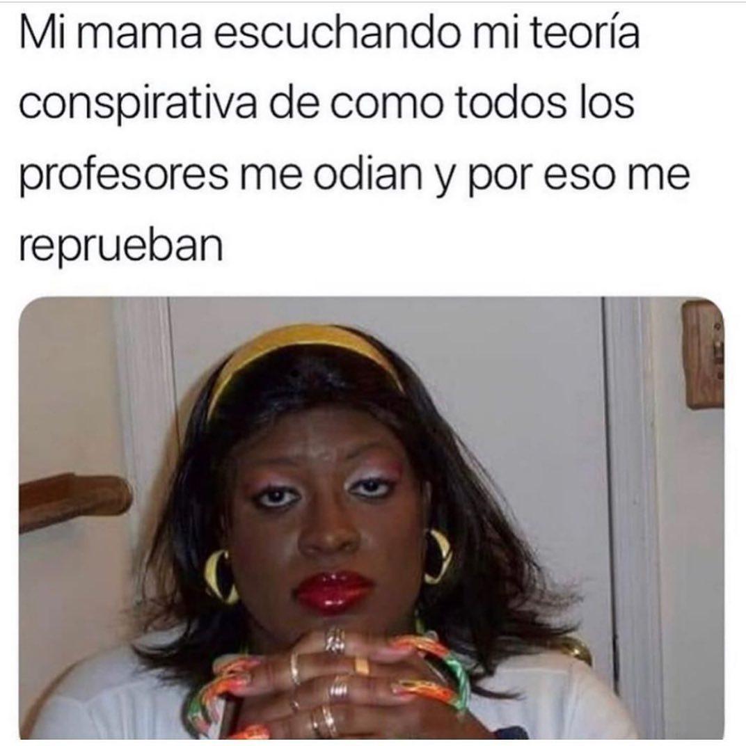 Mi mamá escuchando mi teoría conspirativa de como todos los profesores me odian y por eso me reprueban.