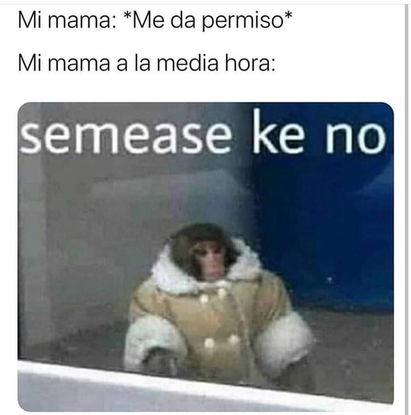 Mi mamá: *Me da permiso*  Mi mamá a la media hora: Semease ke no.