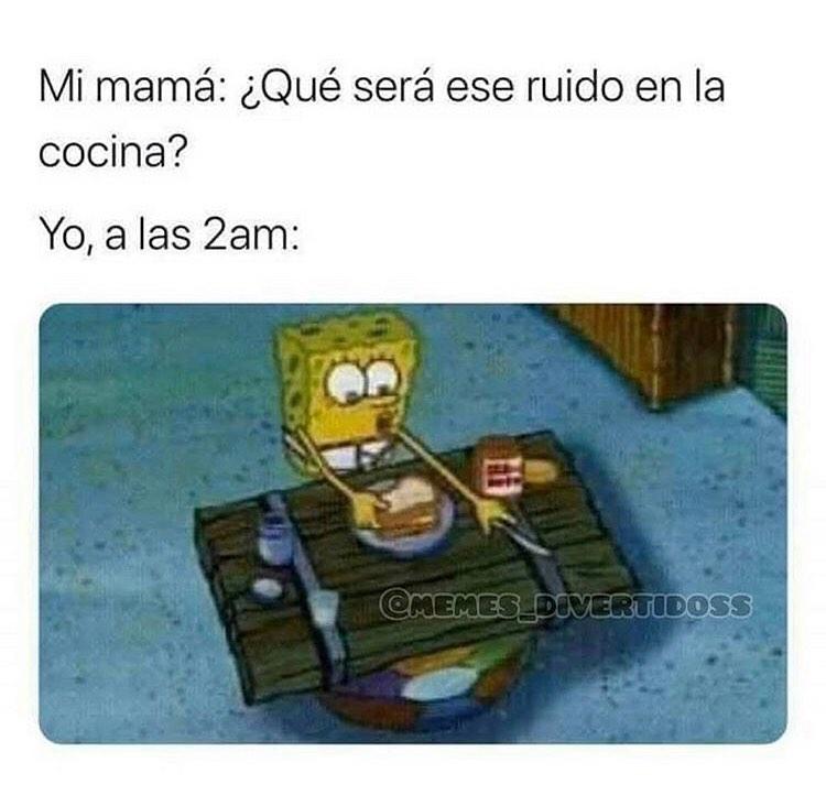 Mi mamá: ¿Qué será ese ruido en la cocina?  Yo, a las 2am: