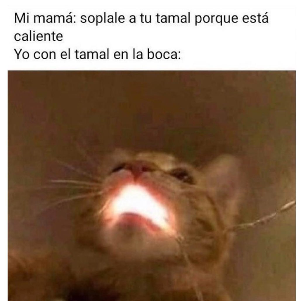 Mi mamá: sóplale a tu tamal porque está caliente.  Yo con el tamal en la boca: