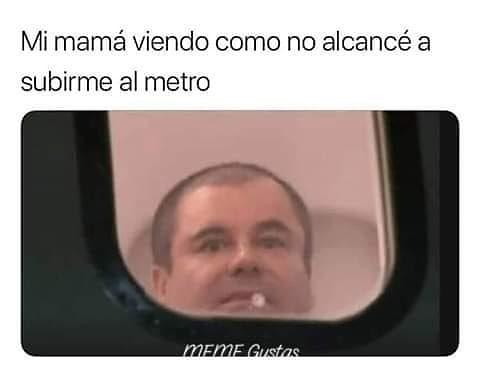 Mi mamá viendo como no alcancé a subirme al metro.